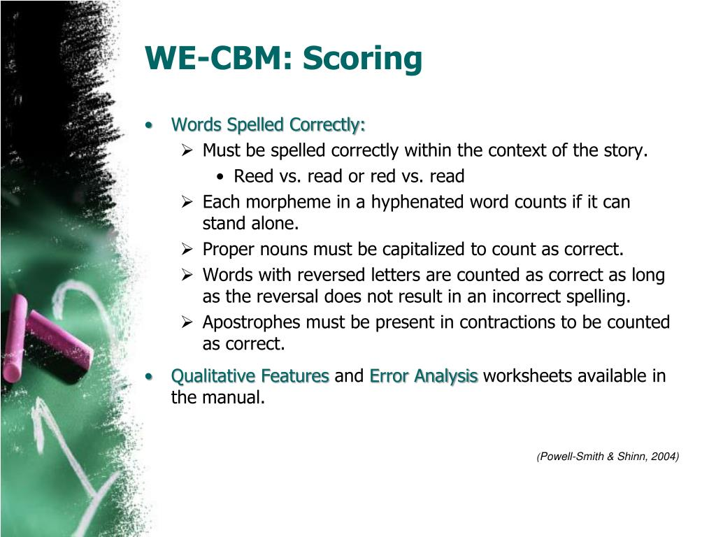 WE-CBM: Scoring