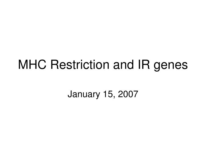 Mhc restriction and ir genes l.jpg