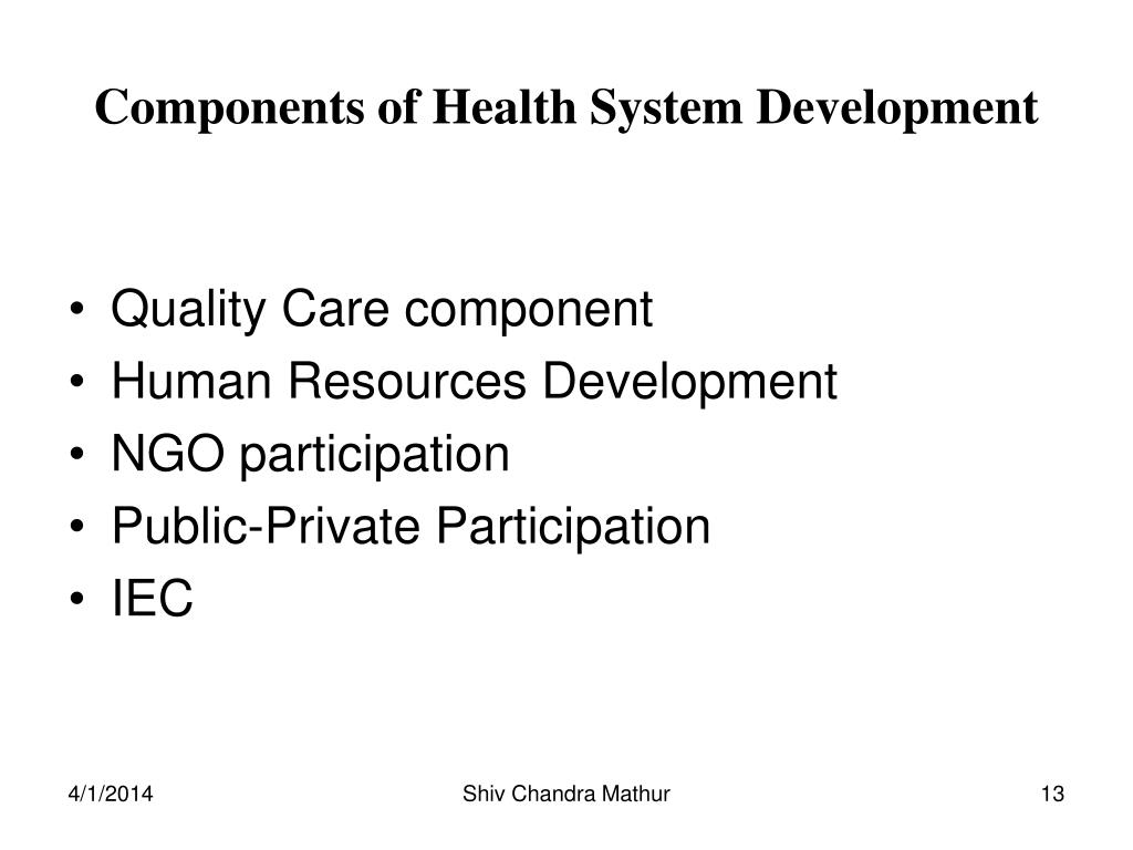 Components of Health System Development