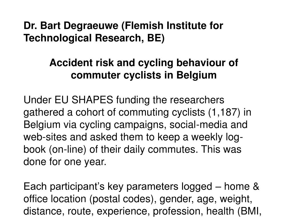 Dr. Bart Degraeuwe (Flemish Institute for Technological Research, BE)