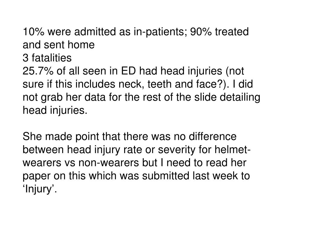 10% were admitted as in-patients; 90% treated and sent home