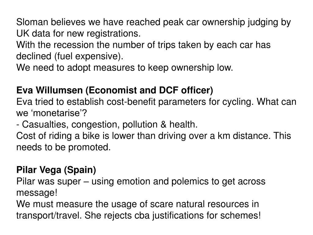 Sloman believes we have reached peak car ownership judging by UK data for new registrations.