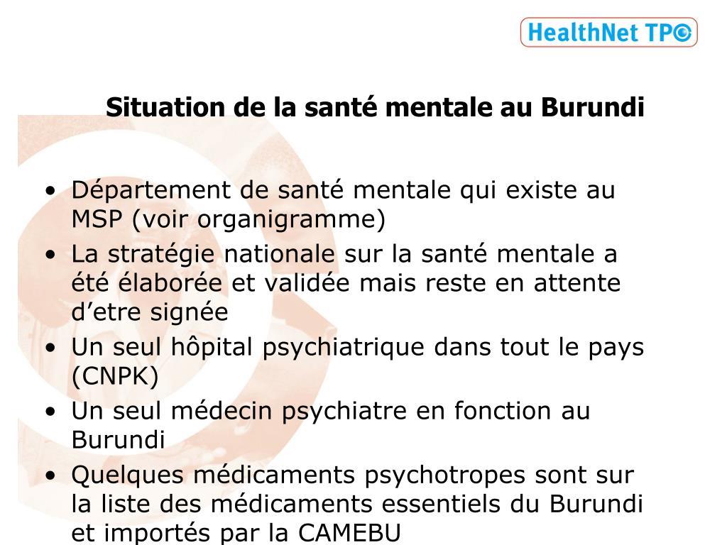 Situation de la santé mentale au Burundi