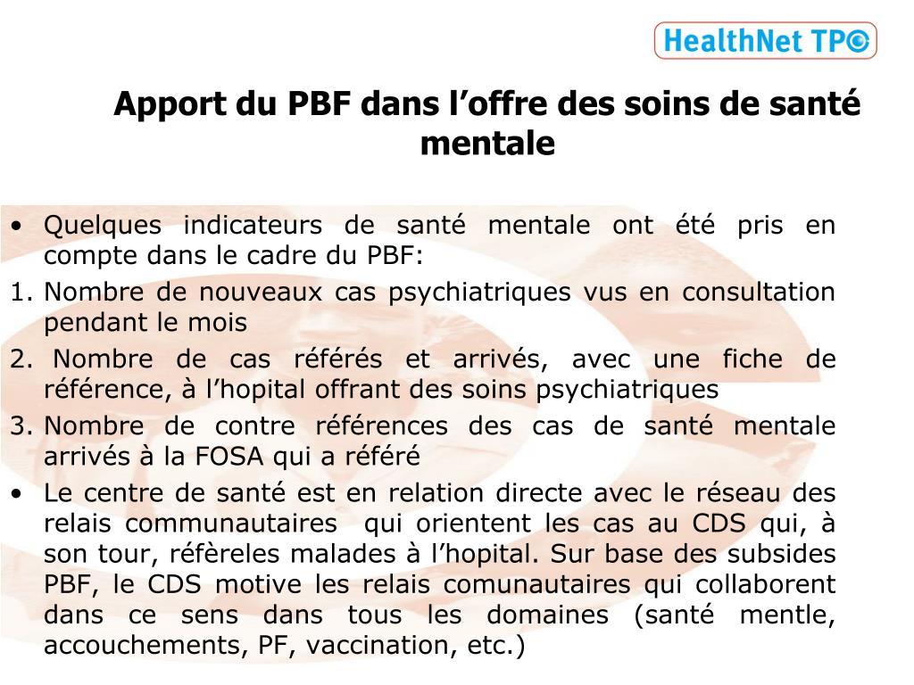 Apport du PBF dans l'offre des soins de santé mentale