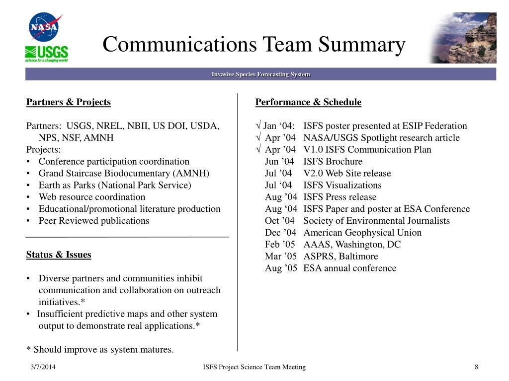 Communications Team Summary