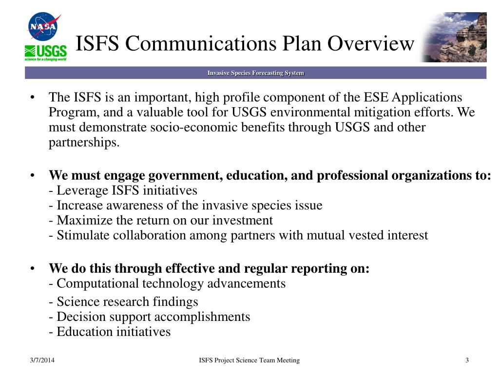 ISFS Communications Plan Overview