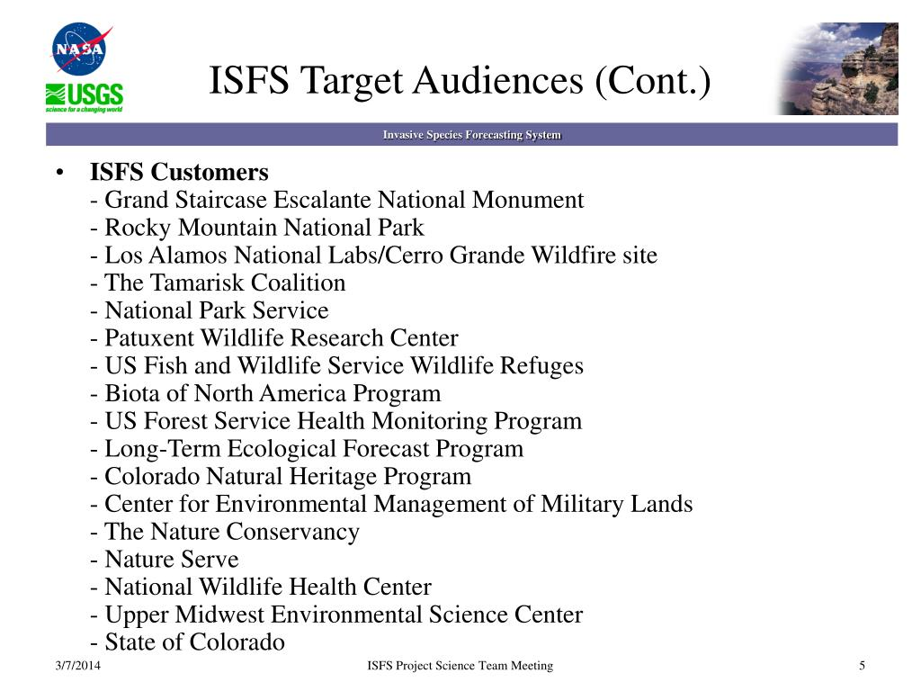 ISFS Target Audiences (Cont.)
