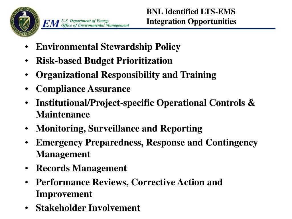 BNL Identified LTS-EMS