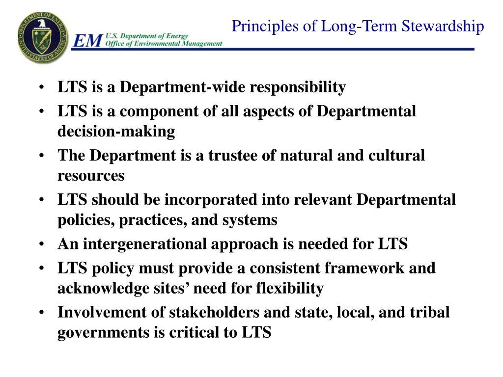 Principles of Long-Term Stewardship