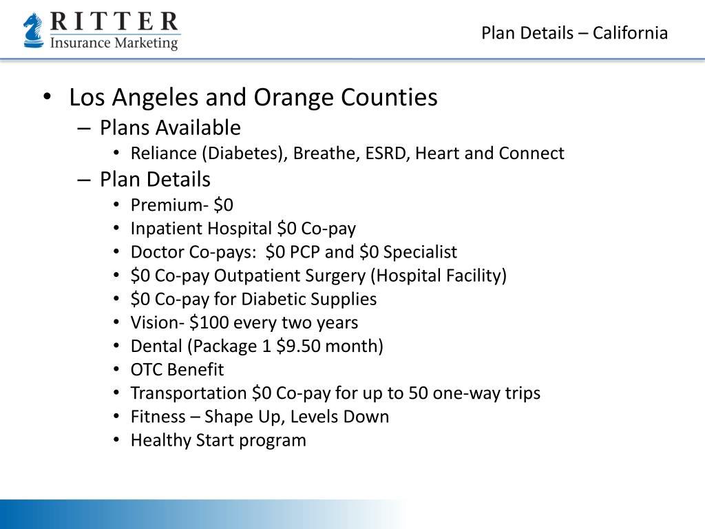 Plan Details – California