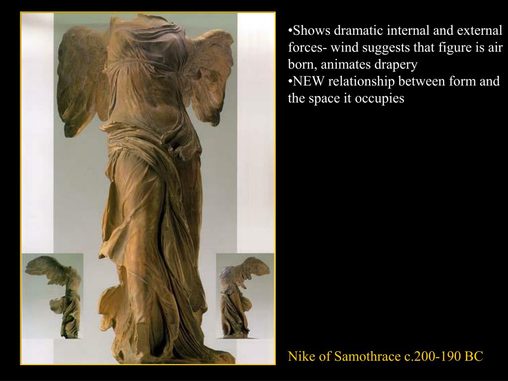Shows dramatic internal and external forces- wind suggests that figure is air born, animates drapery