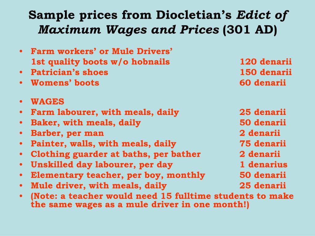 Sample prices from Diocletian's