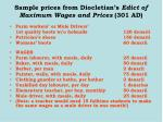 sample prices from diocletian s edict of maximum wages and prices 301 ad41