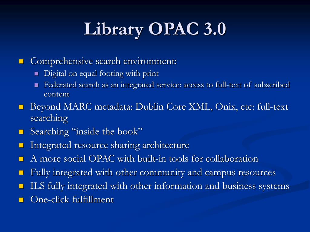 Library OPAC 3.0