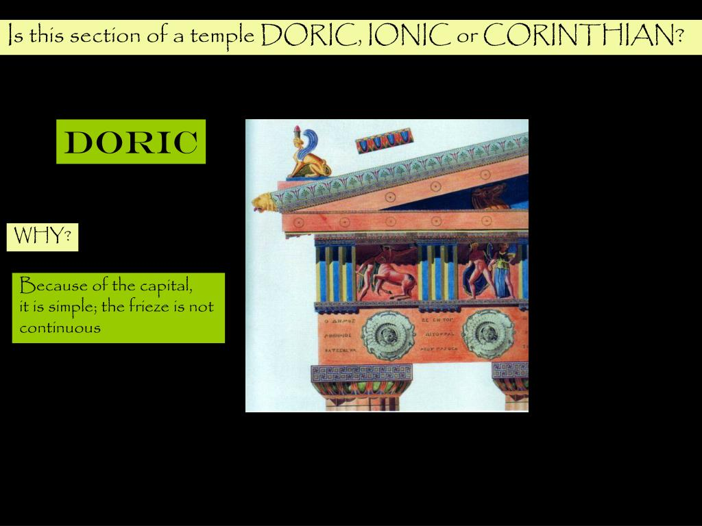 Is this section of a temple DORIC, IONIC or CORINTHIAN?