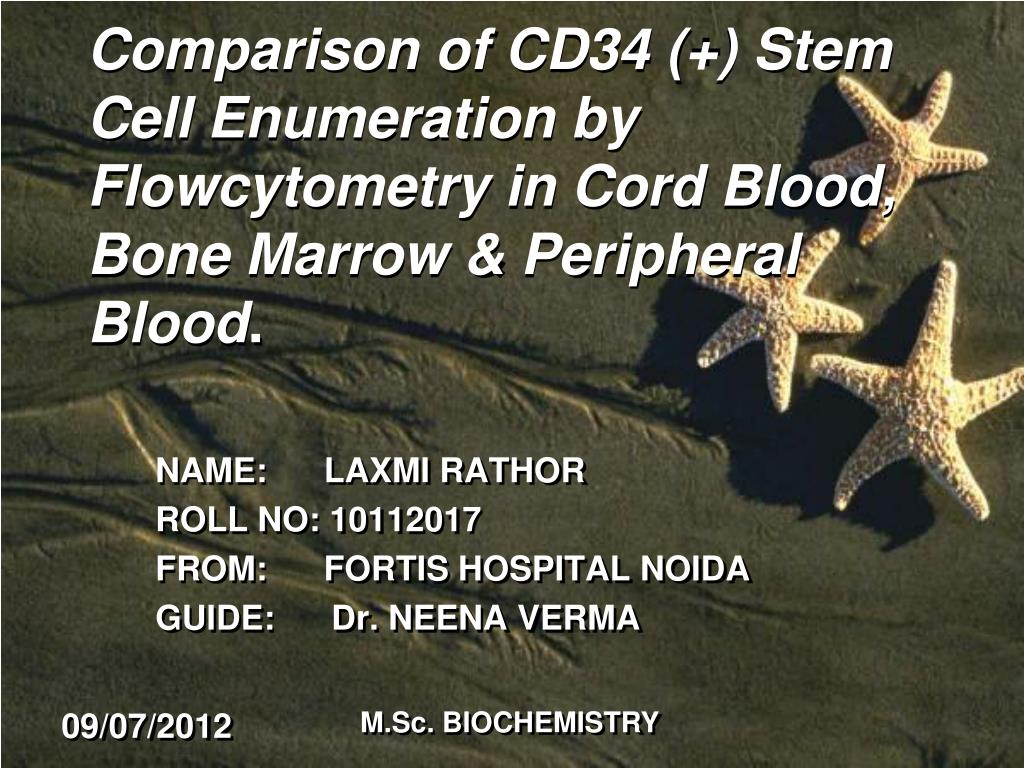 Comparison of CD34 (+) Stem Cell Enumeration by Flowcytometry in Cord Blood, Bone Marrow & Peripheral Blood