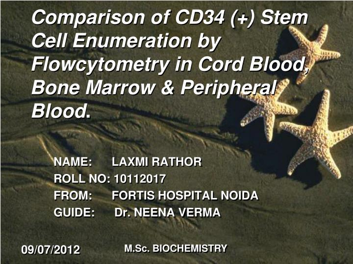 Comparison of CD34 (+) Stem Cell Enumeration by Flowcytometry in Cord Blood, Bone Marrow & Periphera...