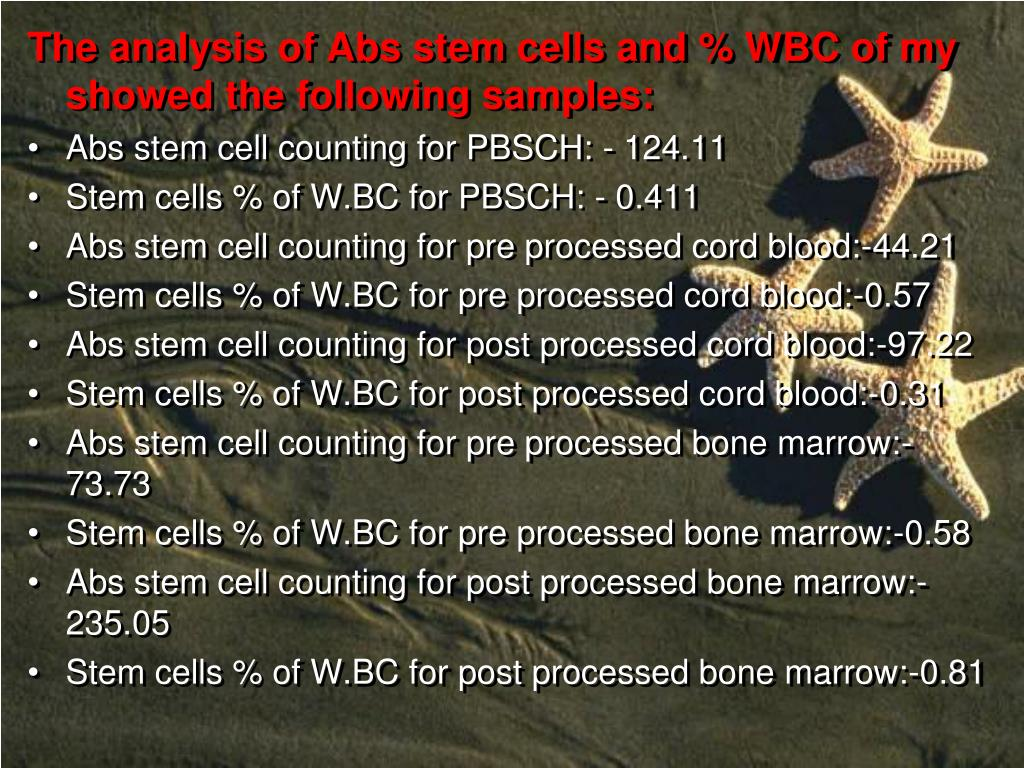 The analysis of Abs stem cells and % WBC