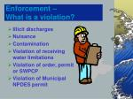 enforcement what is a violation