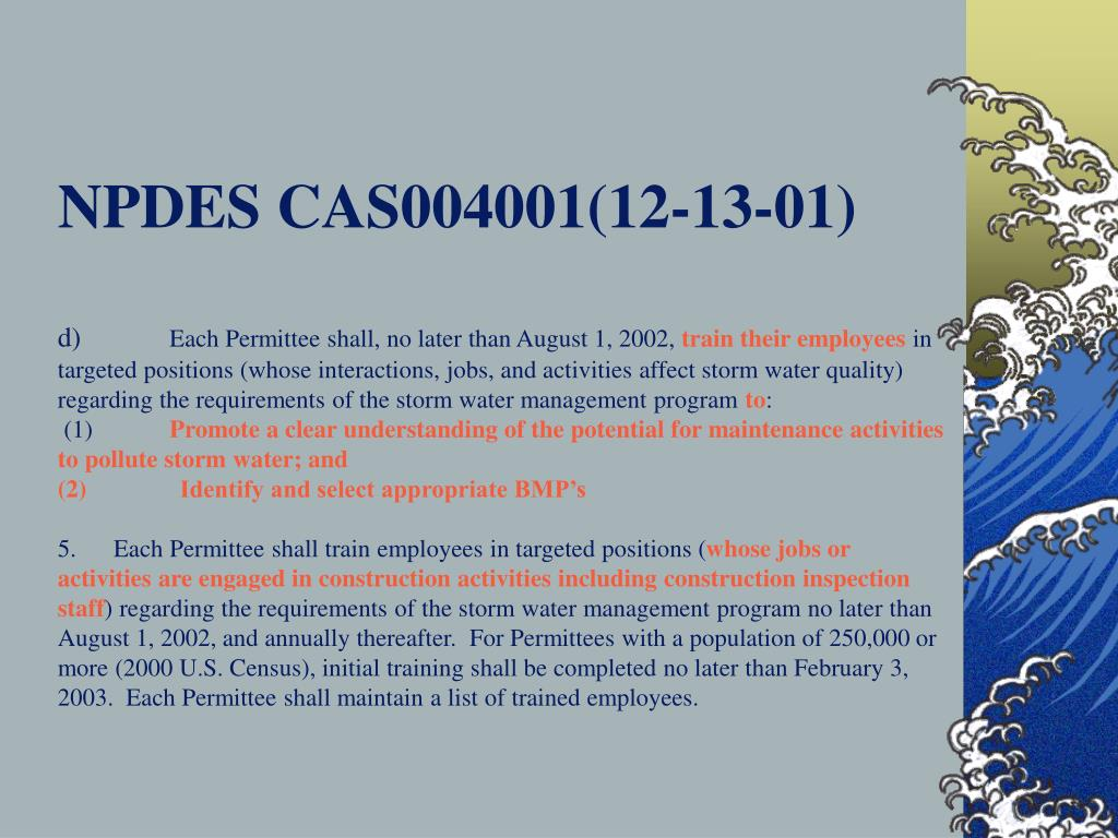NPDES CAS004001(12-13-01)