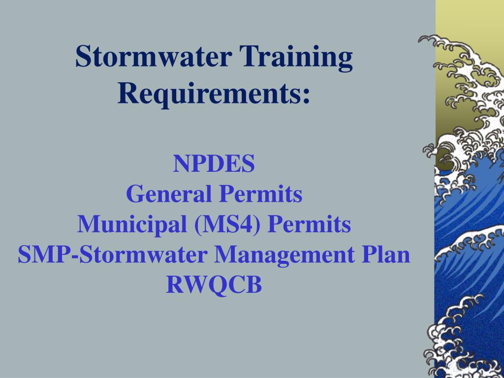 Stormwater Training Requirements: