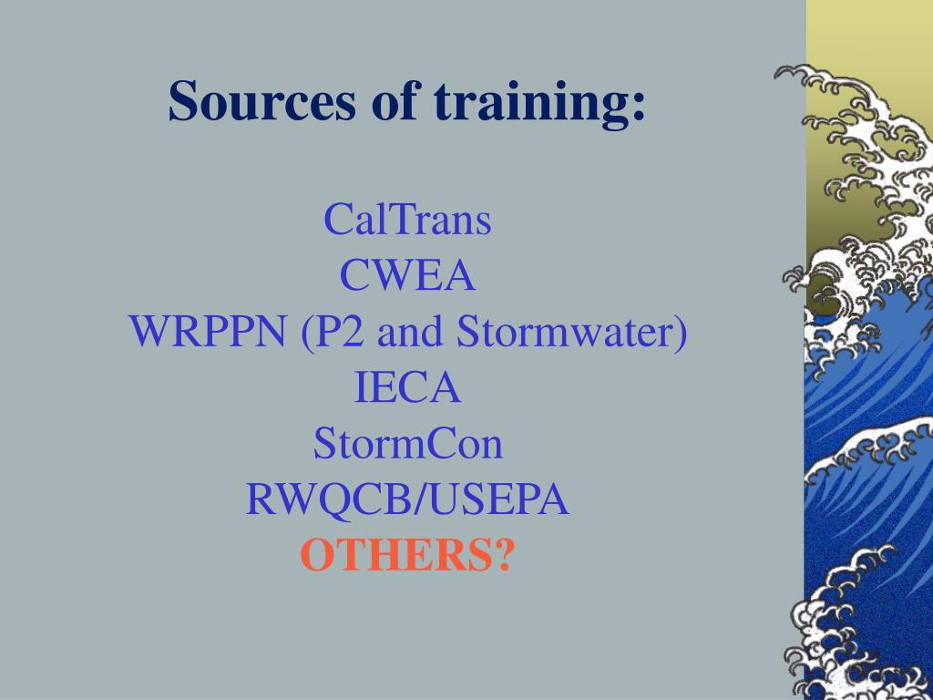 Sources of training: