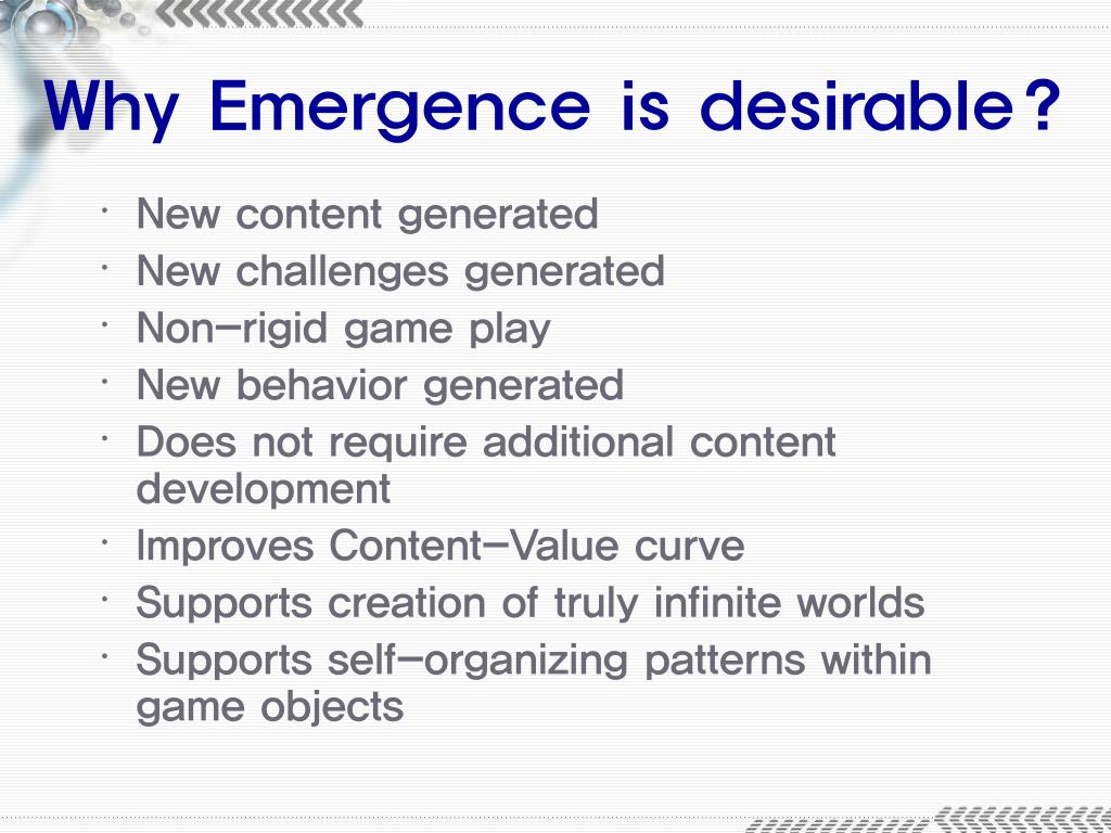 Why Emergence is desirable?