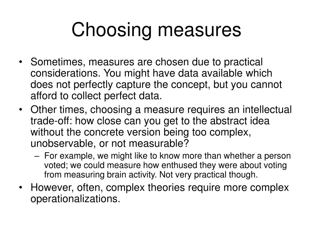 Choosing measures