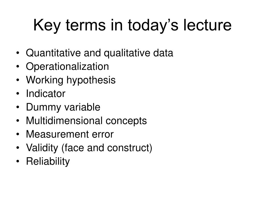Key terms in today's lecture