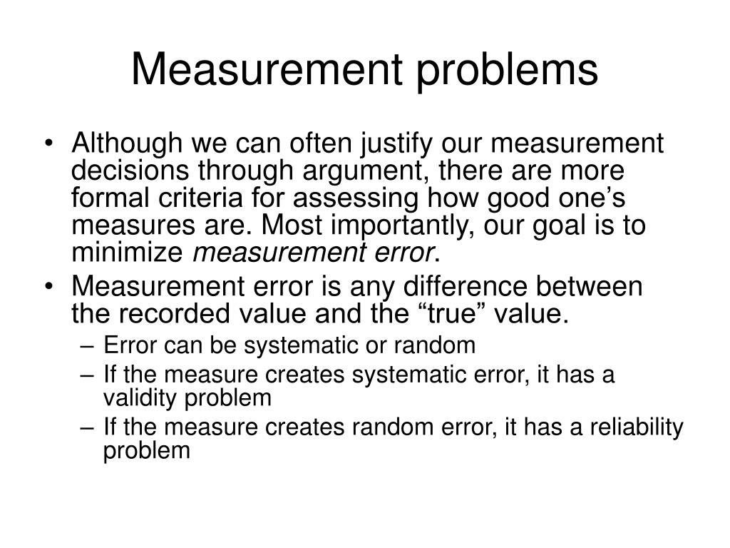 Measurement problems