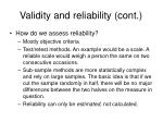 validity and reliability cont