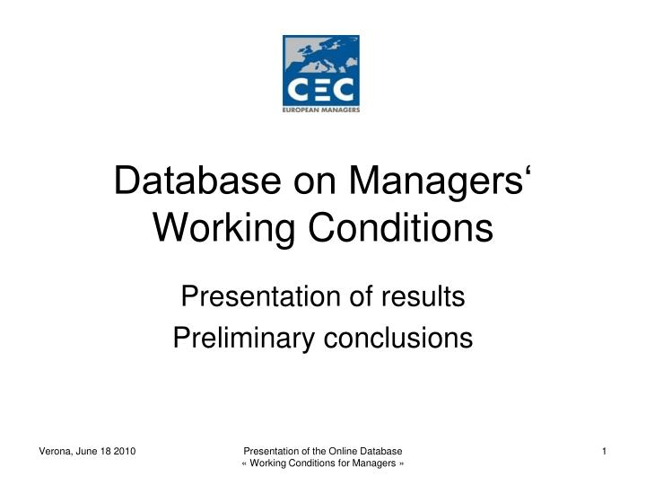 Database on managers working conditions