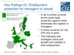 key findings 2 employment protection for managers is valued
