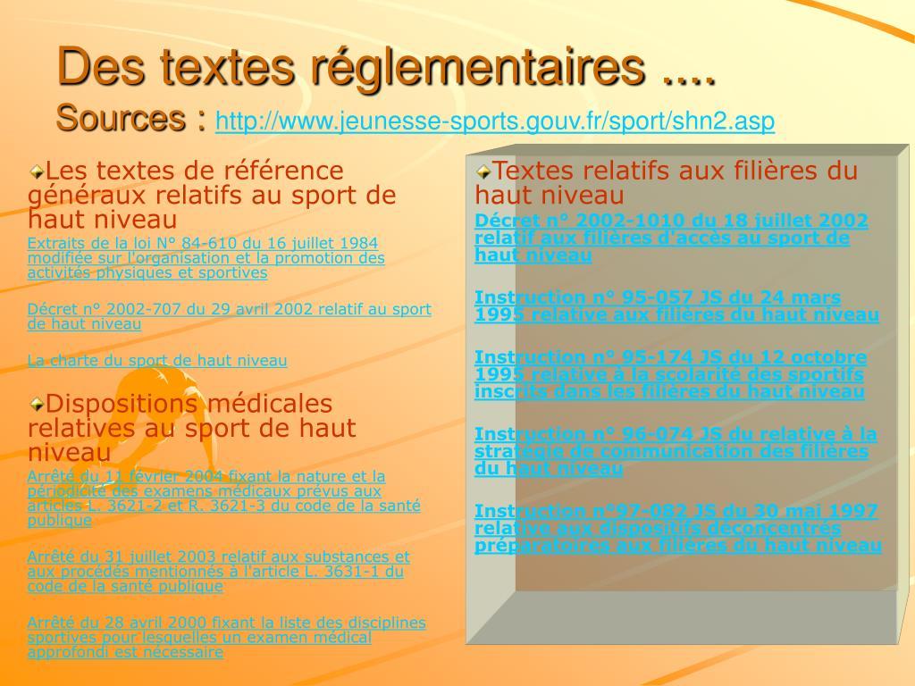 Les textes de référence généraux relatifs au sport de haut niveau