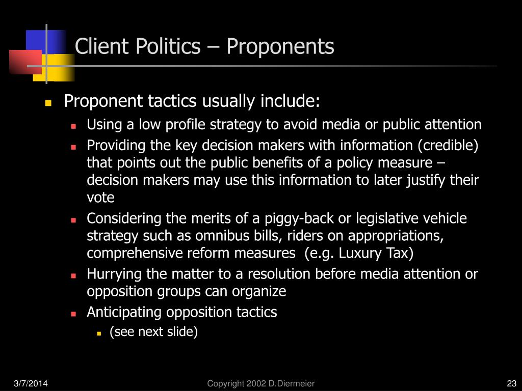 Client Politics – Proponents
