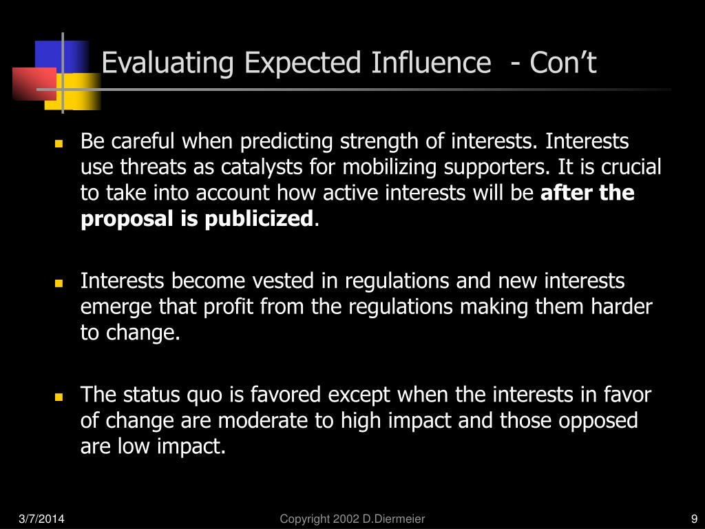Evaluating Expected Influence  - Con't