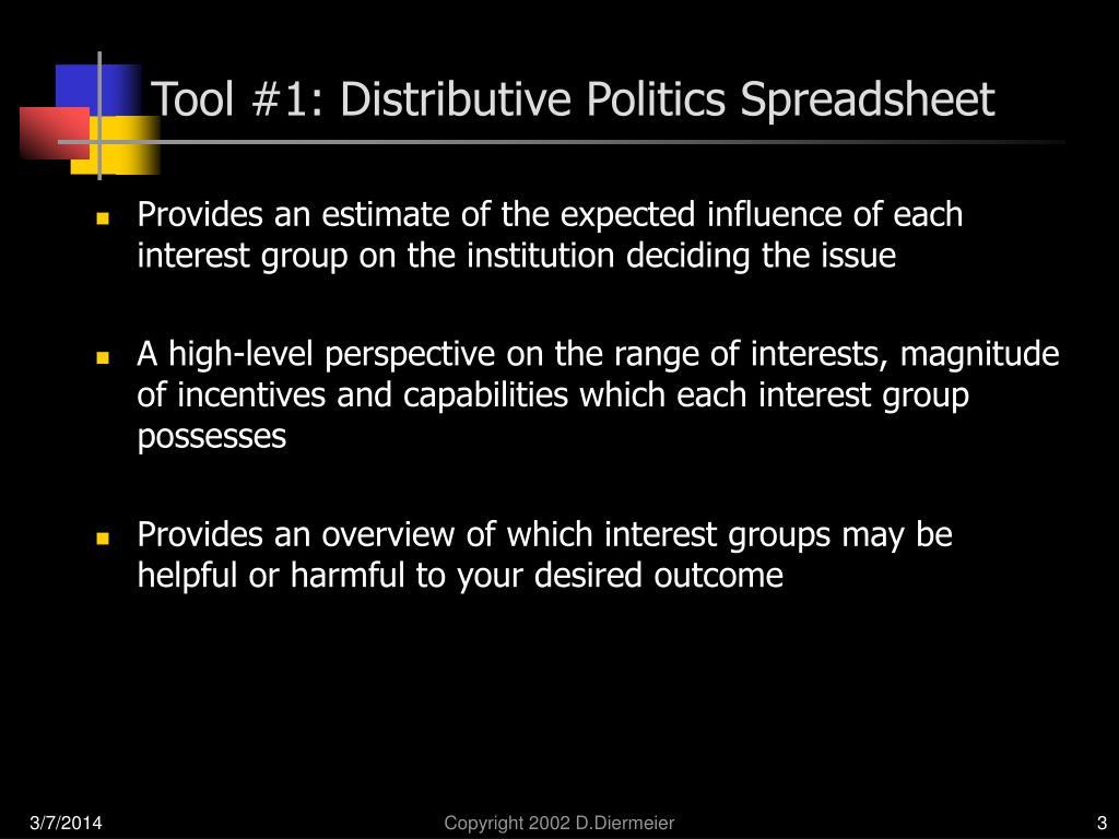 Tool #1: Distributive Politics Spreadsheet