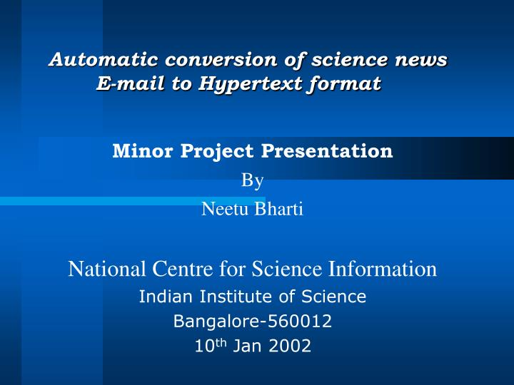 Automatic conversion of science news e mail to hypertext format