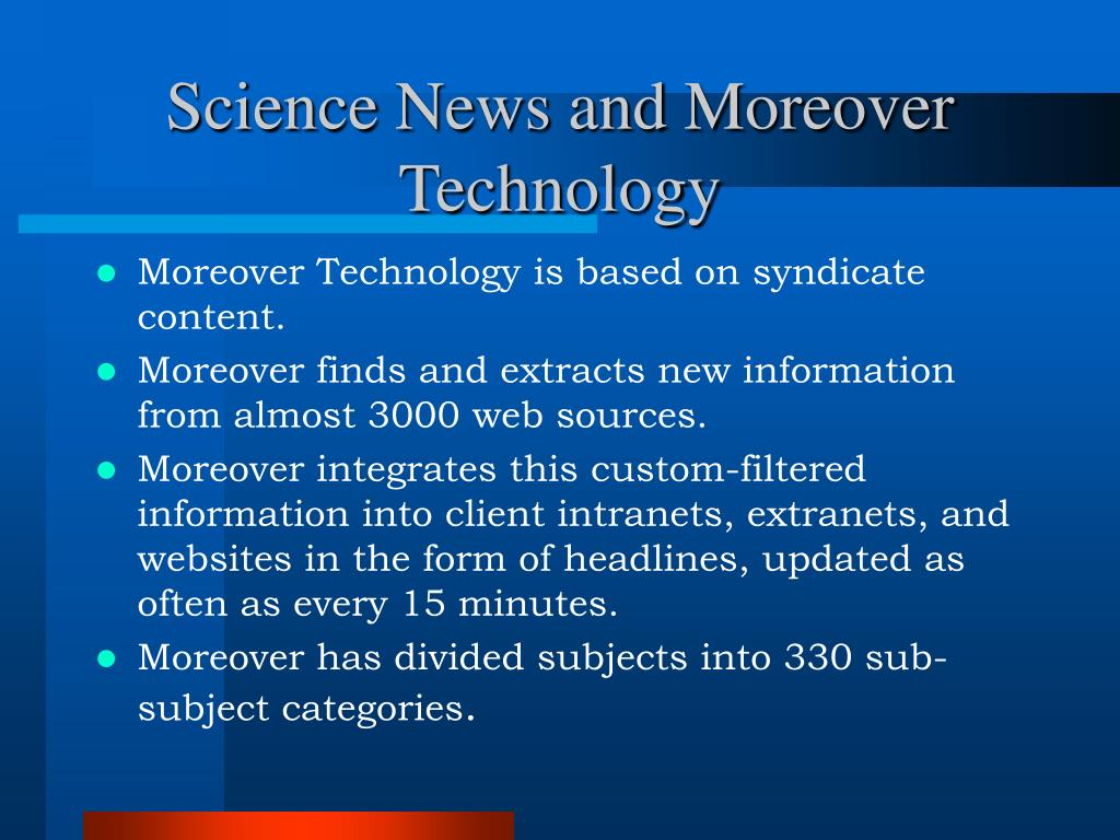 Science News and Moreover Technology