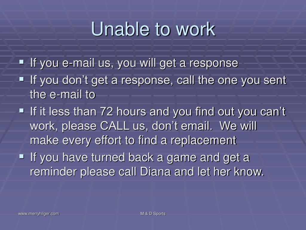 Unable to work