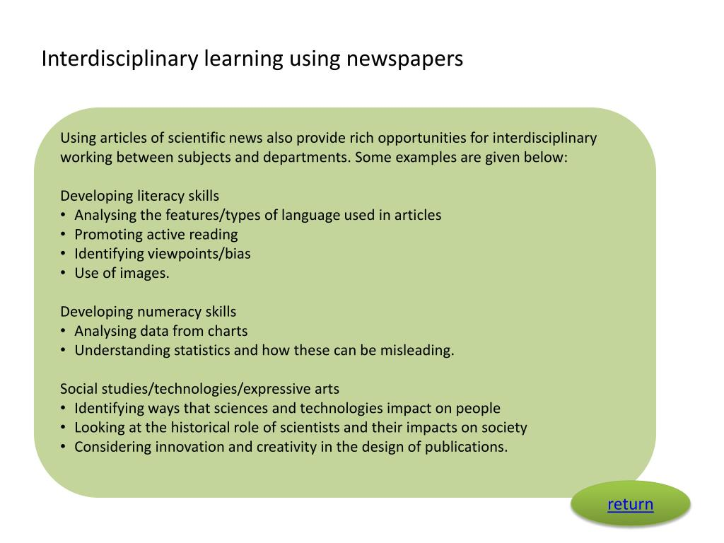 Interdisciplinary learning using newspapers