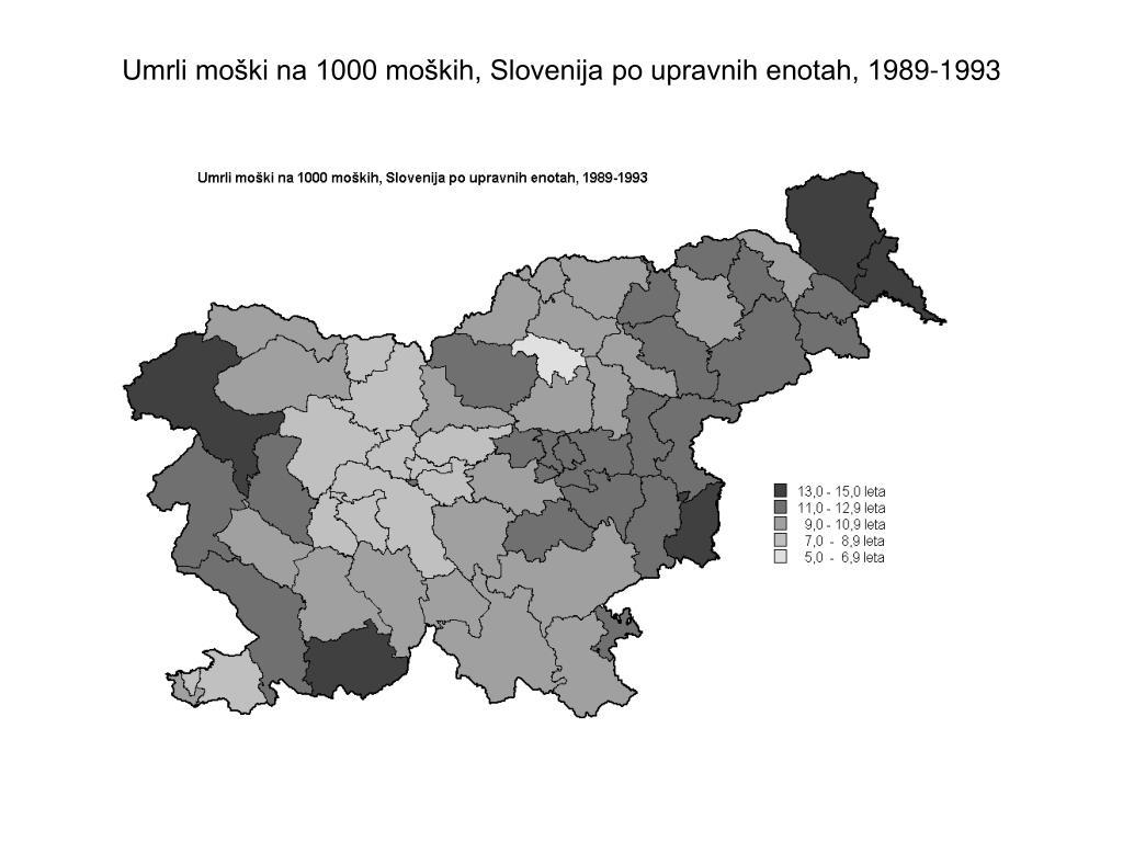 Umrli moški na 1000 moških, Slovenija po upravnih enotah, 1989-1993