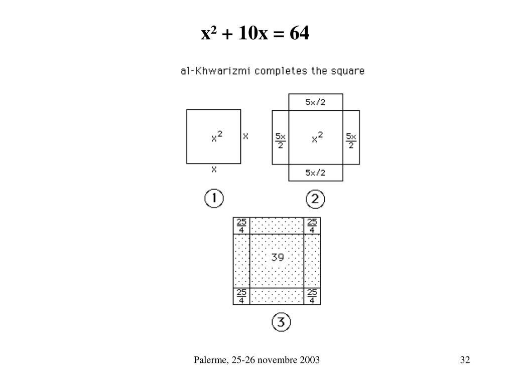 x² + 10x = 64