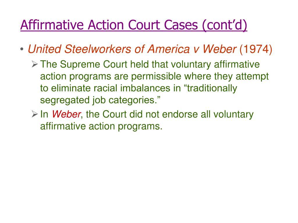 Affirmative Action Court Cases (cont'd)