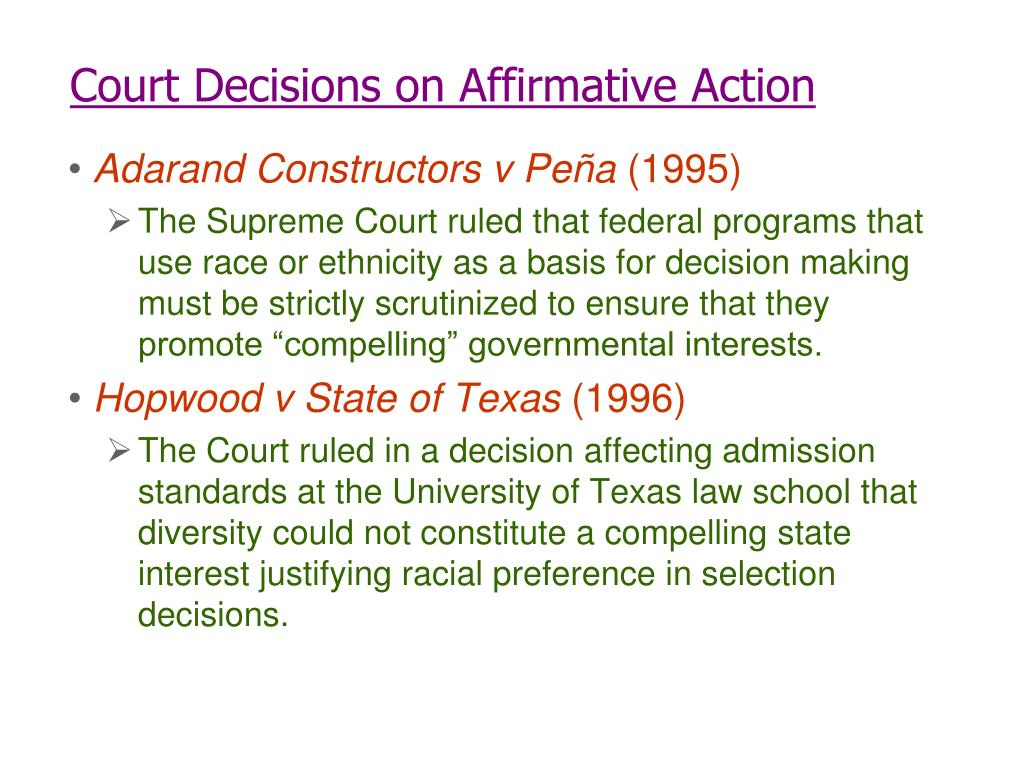 Court Decisions on Affirmative Action