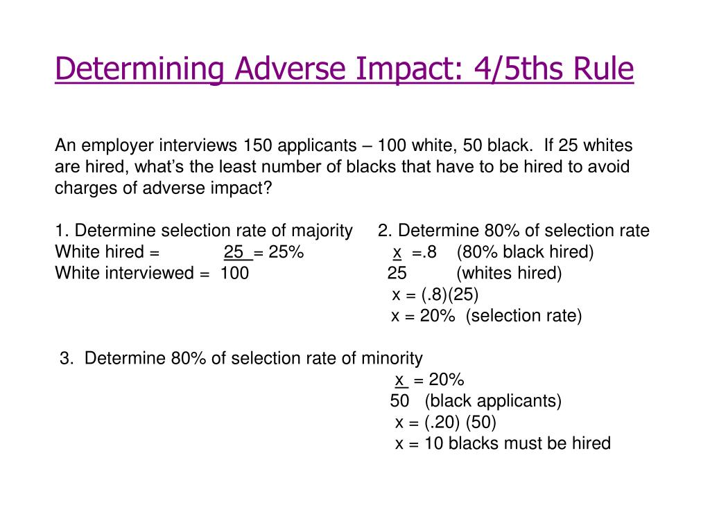 Determining Adverse Impact: 4/5ths Rule