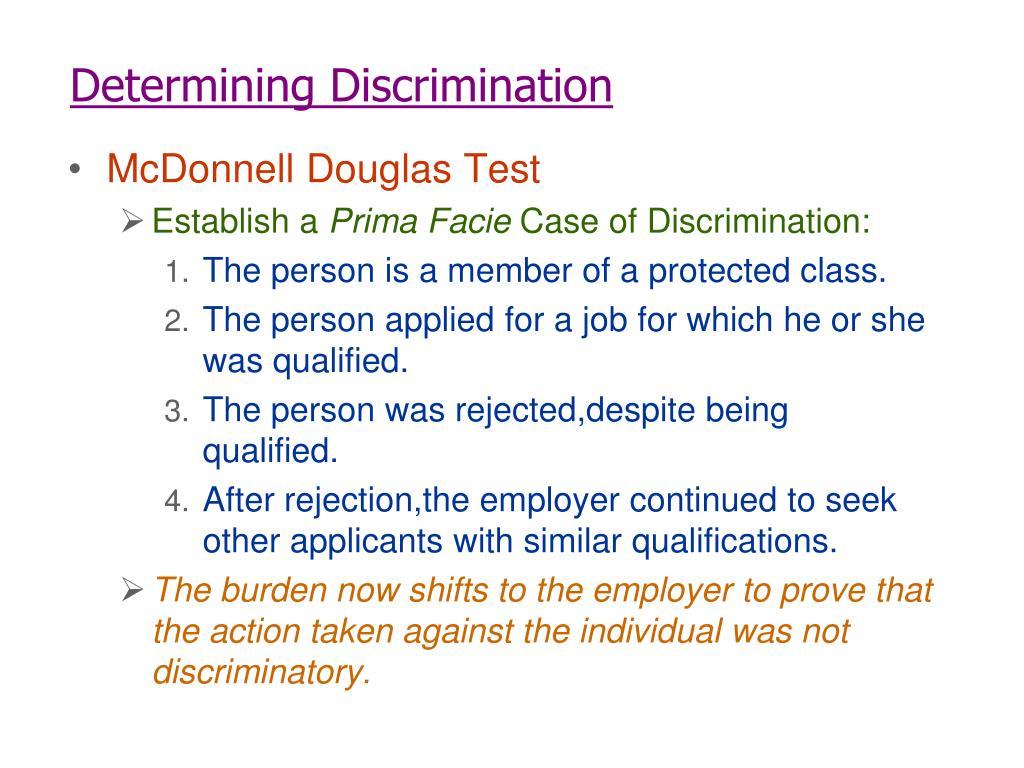 Determining Discrimination