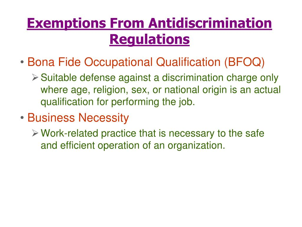 Exemptions From Antidiscrimination Regulations