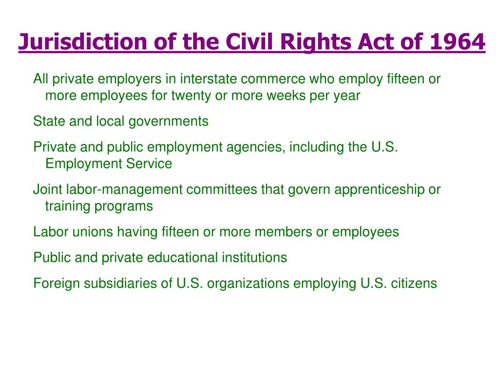 Jurisdiction of the Civil Rights Act of 1964