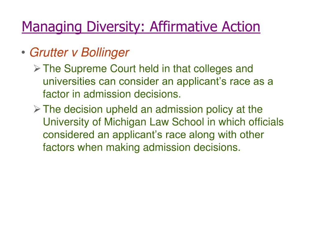 Managing Diversity: Affirmative Action
